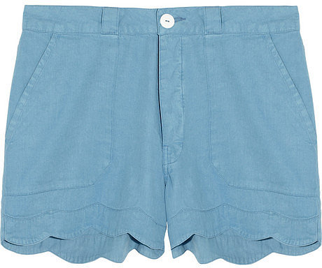 MiH Jeans Scalloped linen and cotton-blend shorts
