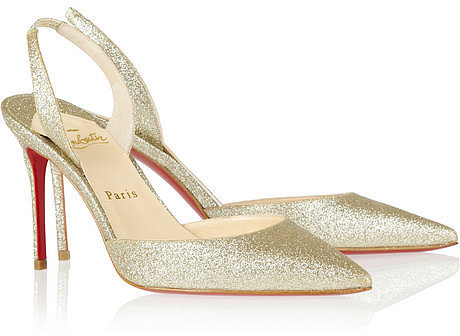 Christian Louboutin Ever 85 glitter-finished slingbacks