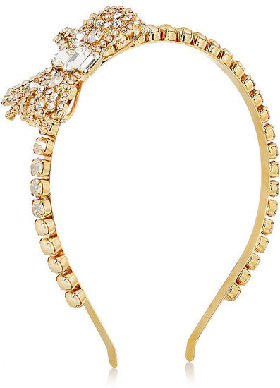 Miu Miu Crystal and faux pearl headband