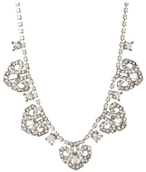 Nina - Mulberry 1920s Inspired Delicate Crystal Necklace (Antique Silver) - Jewelry