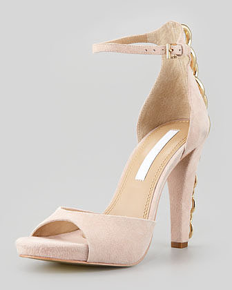 Diane von Furstenberg Sofia Chain-Back Runway Sandal, Nude