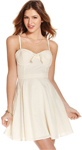 Jessica Simpson Juniors Dress, Spaghetti-Strap Bustier A-Line