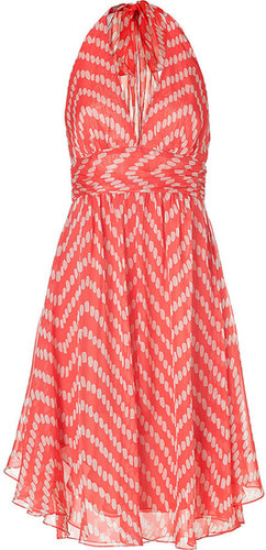 Milly Silk Chiffon Halter Dress in Coral