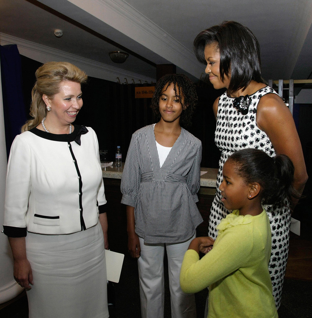 The Obama girls met with then-Russian First Lady Svetlana Medvedeva at a Moscow concert in July 2009.