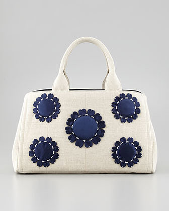 Prada Large Floral-Applique Gardener's Tote Bag, Navy