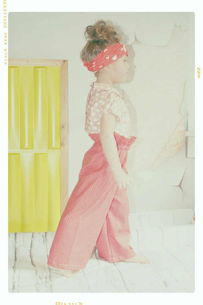 Line and Dot Blouse and Ruffle Wide Leg Trousers