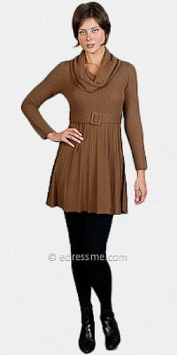 Chaudry Brown Long Sleeved Sweater Dresses