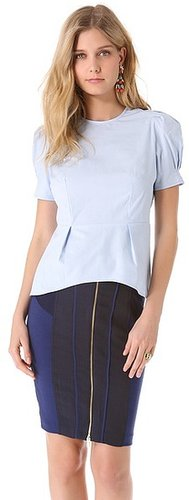 State & lake Poplin Peplum Top