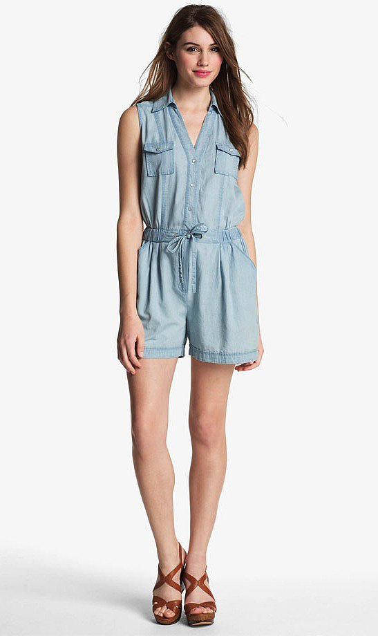 Two by Vince Camuto's chambray romper ($89) features a light hue that would look great with some neon accents.