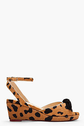 CHARLOTTE OLYMPIA Tan Spotted Calf-hair Alex Wedge Sandals