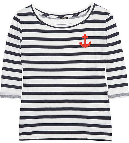 J.Crew Striped cotton anchor T-shirt