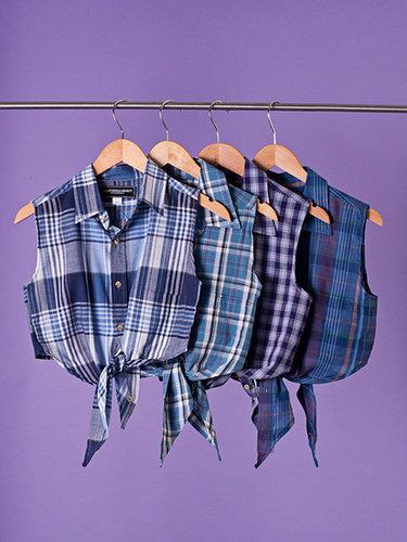 California Select Original Plaid Cropped Tie Top