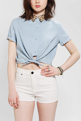 Glamorous Leopard Collar Tie-Front Shirt