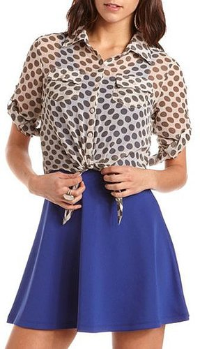 Tie-Front Polka Dot Blouse