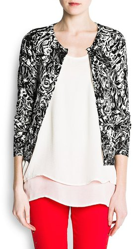 Floral print cotton cardigan