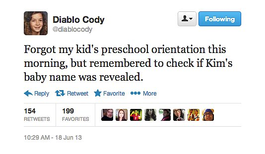 Diablo Cody has Kim and Kanye's baby name at the top of her priority list.