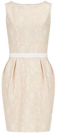 Blush bonded lace dress