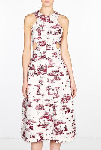 Carven Safari Printed Cut Away Dress