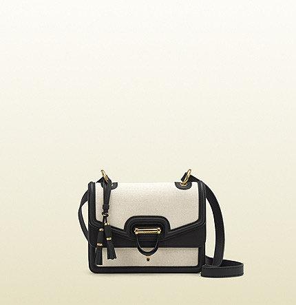Derby Canvas Shoulder Bag With Black Leather Trim