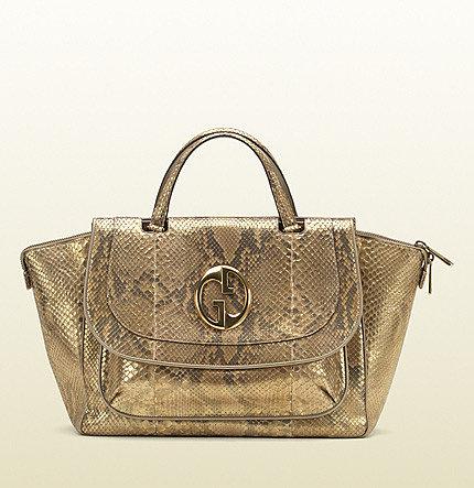 Gucci 1973 Gold Colour Python Top Handle Bag