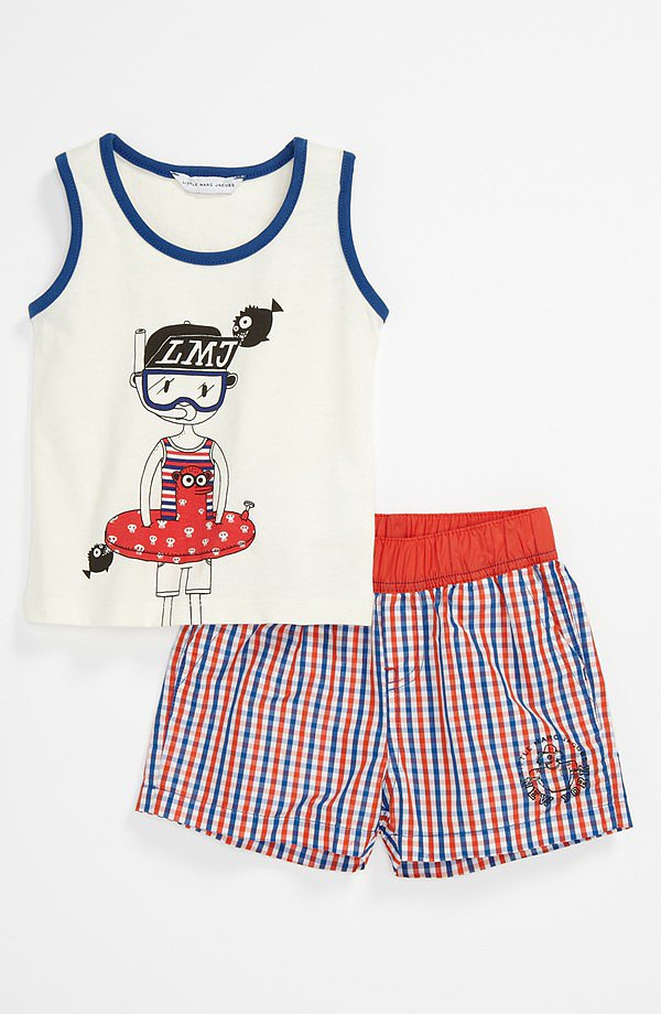 He'll be the most stylish babe on the beach in this adorable ensemble ($106) by Little Marc Jacobs.