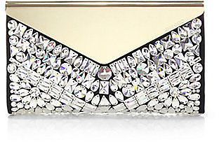 Jimmy Choo Embellished Suede & Metal Clutch