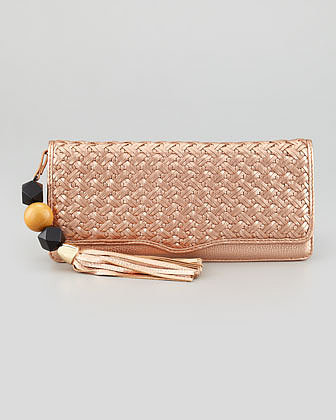 Rebecca Minkoff Honey Woven Leather Clutch Bag, Rose Gold
