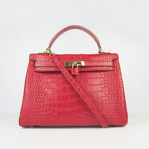 Hermes Kelly 32 Crocodile Gold Hardware (Red)