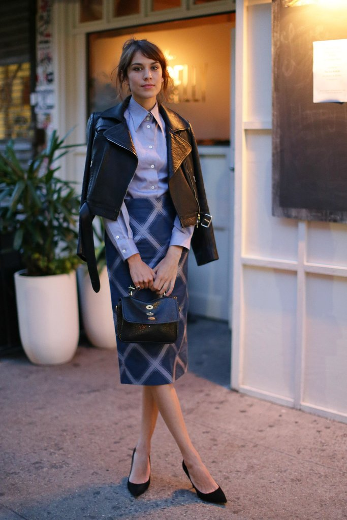 Alexa Chung outfitted her ladylike wares with an edgy leather jacket — just another reason to love Alexa's effortless and original take on ladylike style. Source: David X Prutting/BFAnyc.com