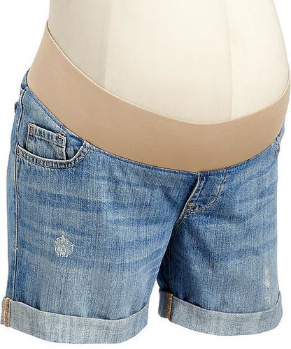 "Maternity Distressed Demi-Panel Denim Shorts (5"")"