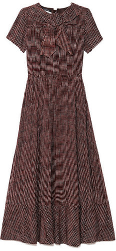 Preorder Marc Jacobs Sketch Check Crepe De Chine Bow Neck Dress