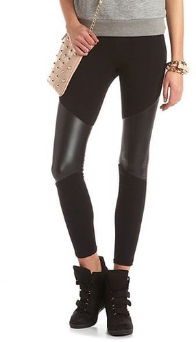 Pieced Pleather Cotton Legging