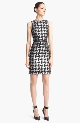 Michael Kors Metallic Houndstooth Sheath Dress
