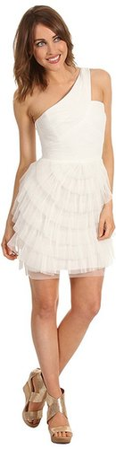 BCBGMAXAZRIA - Ella Pleated One-Shoulder Dress (Gardenia) - Apparel