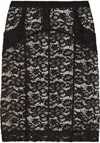 Nina Ricci Cotton-blend floral-lace pencil skirt