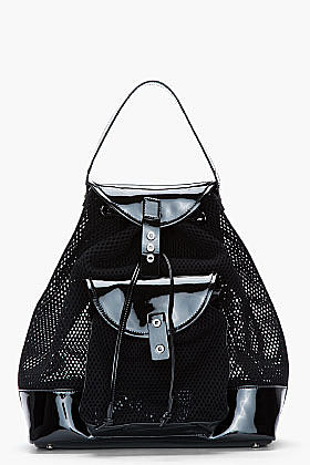 VERSUS Black patent and mesh Backpack