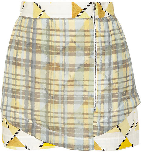Suno Printed cotton and silk-blend mini skirt