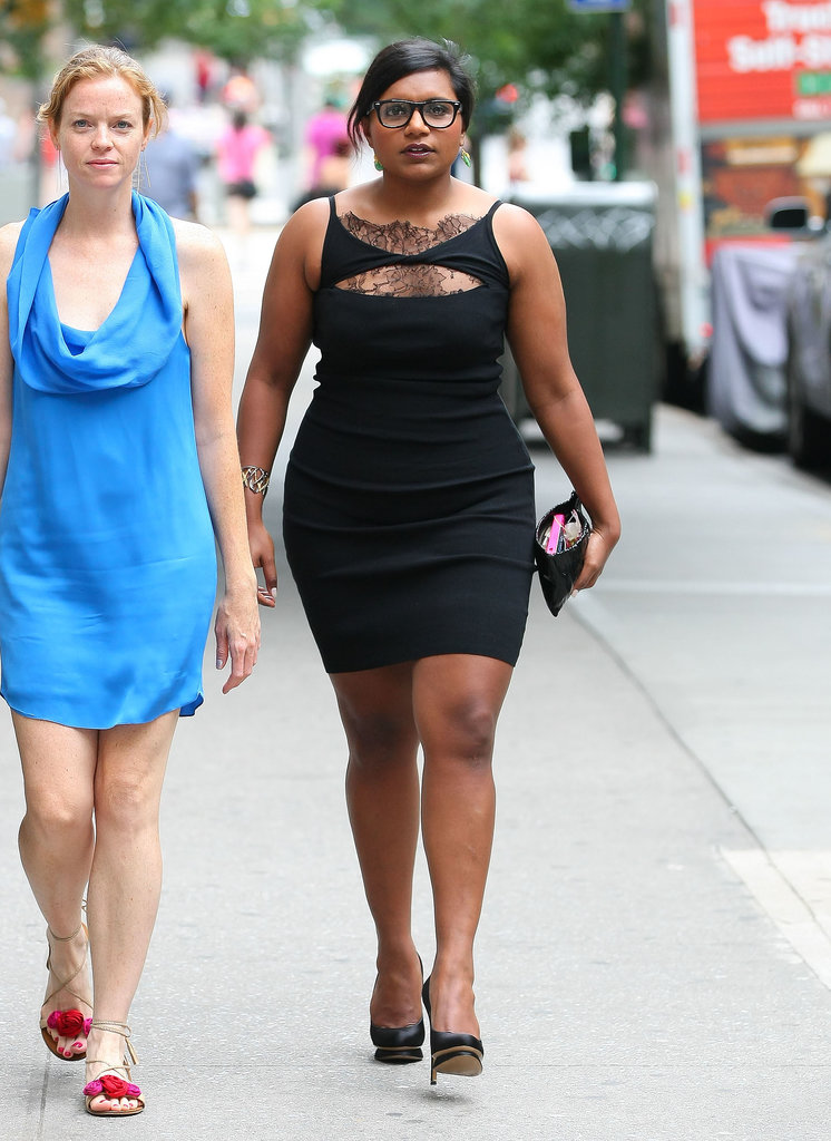 Mindy Kaling kept it classy and simultaneously sassy in a little black dress with lace detailing at an NYC wedding in July 2012. She reminds us that a black dress is even better with some lace detailing.