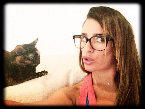 Lea Michele shared this photo of herself with her beloved cat, Sheila. Source: Instagram user msleamichele