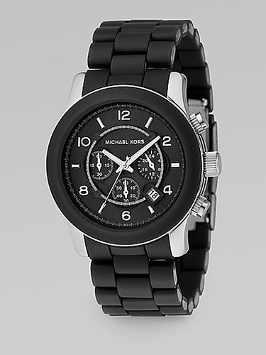 Michael Kors Oversized Stainless Steel & Black Rubber Chronograph Watch