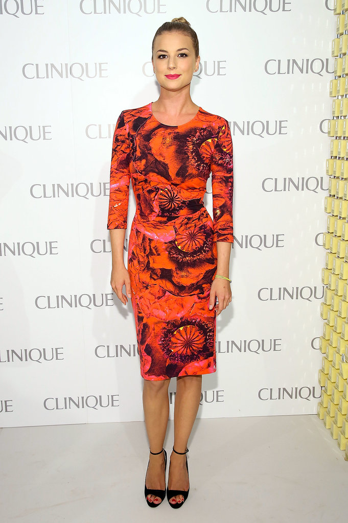Emily VanCamp's Preen dress showed off her svelte figure in the most fashionable way possible at the Clinique Dramatically Different party in NYC.