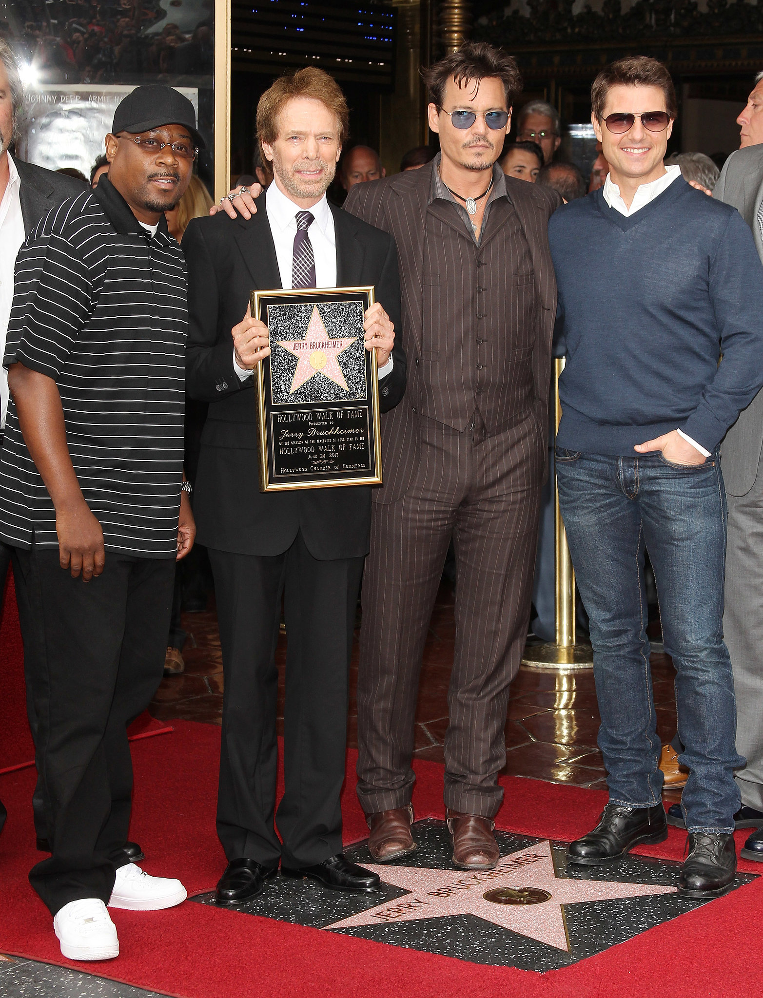 Martin Lawrence, Johnny Depp, and Tom Cruise were among the guests present as Jerry Bruckheimer received his star on the Walk of Fame.