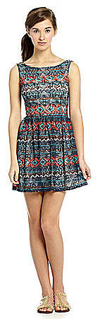 Sequin Hearts Tribal-Print Swing Dress