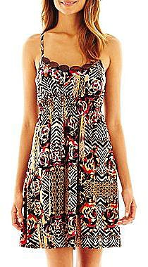 Bisou Bisou® Wood-Trim Tribal Print Dress