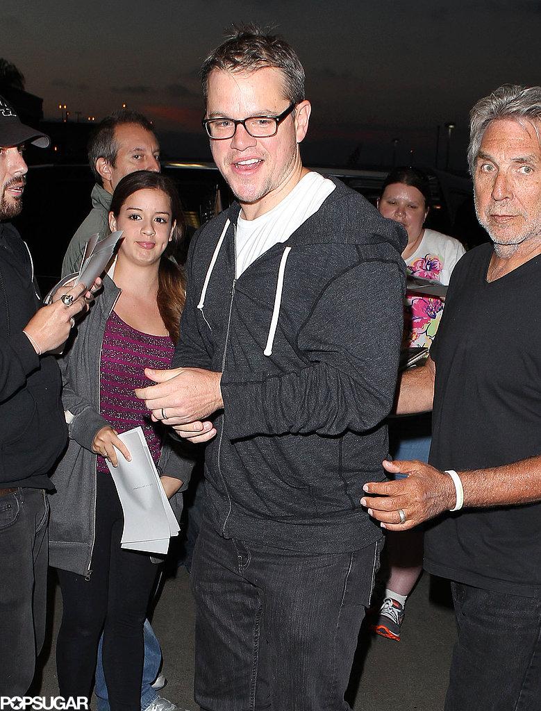 Matt Damon gave a big smile at LAX.