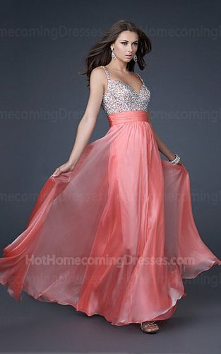 Two shoulder Coral V-neckline Sequin Long Dresses for Homecoming Waistband