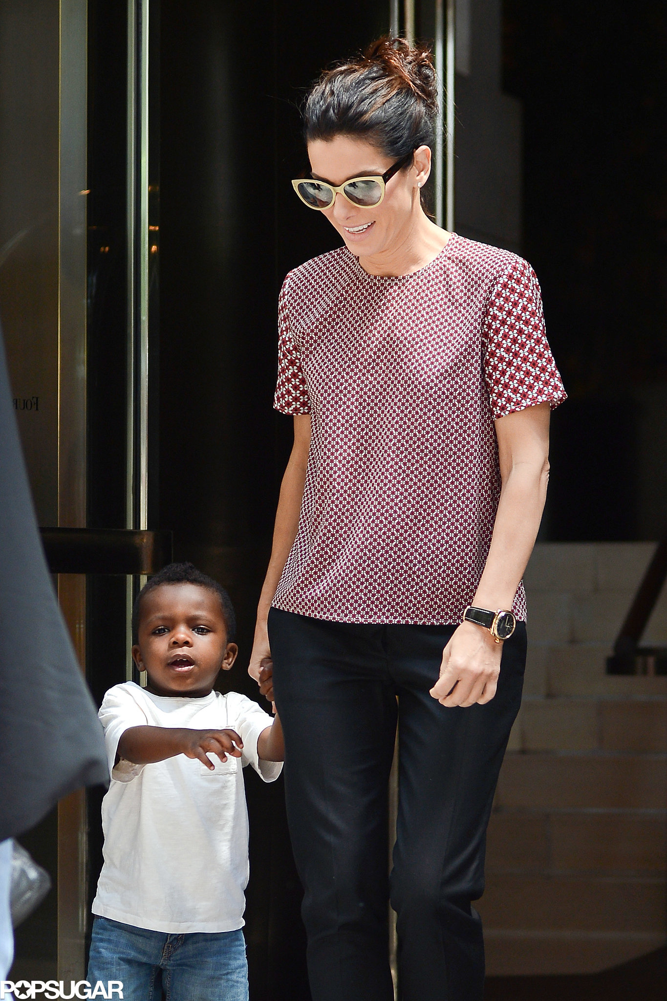 Sandra Bullock Breaks From Press For Lunch With Little Louis