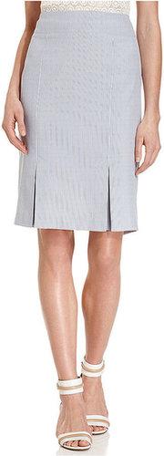 Le Suit Petite Skirt, Seersucker Pleated-Hem