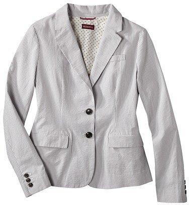 Merona® Women's Seersucker Jacket - Skyline Grey/Fresh White -