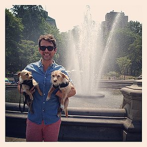 Brad-Goreski-posed-his-two-adorable-puppies-during-warm-NYC